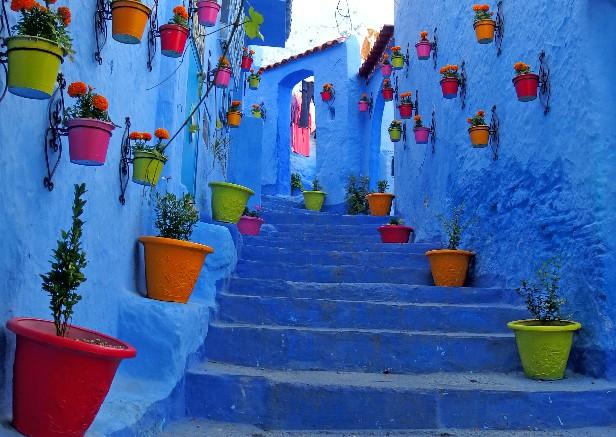 モロッコの青い街並み
